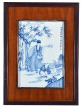 BLUE AND WHITE PLAQUE DEPICTING WANG XIZHI FEEDING GEESE.