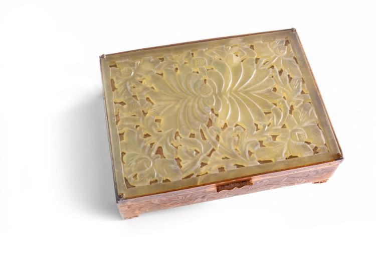 JADE COVERED GILT BRONZE BOX.
