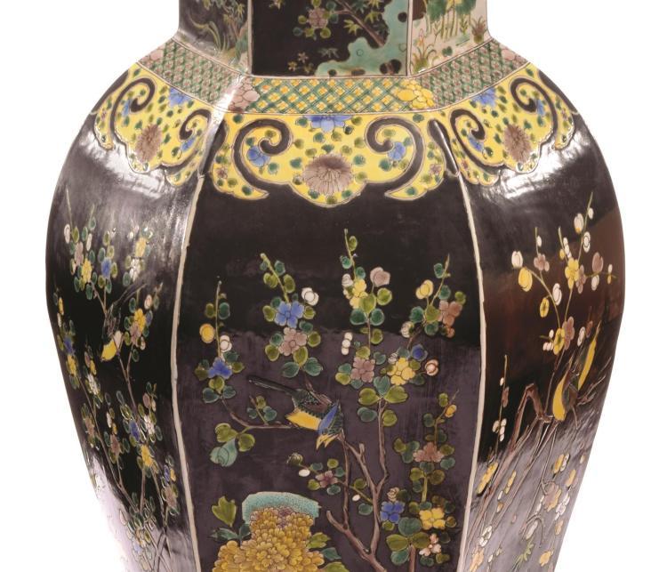 chinese famille noir floor vase. Black Bedroom Furniture Sets. Home Design Ideas
