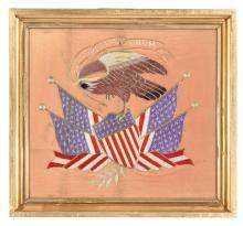 SILK NEEDLEWORK AMERICAN EAGLE.