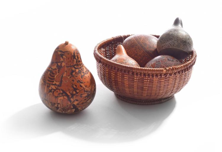FIVE INCISED PEARS BY GUILLERMO OSORES (MEXICAN, 20TH CENTURY).