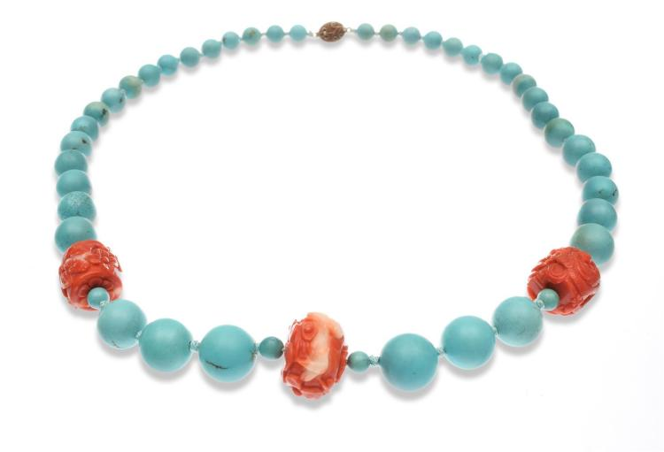 CHINESE CORAL AND TURQUOISE NECKLACE.