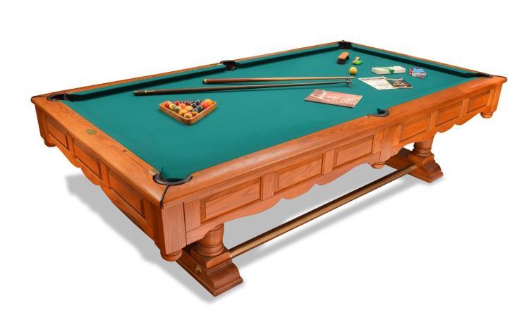 PRESTIGE OAK POOL TABLE BY BRUNSWICK.