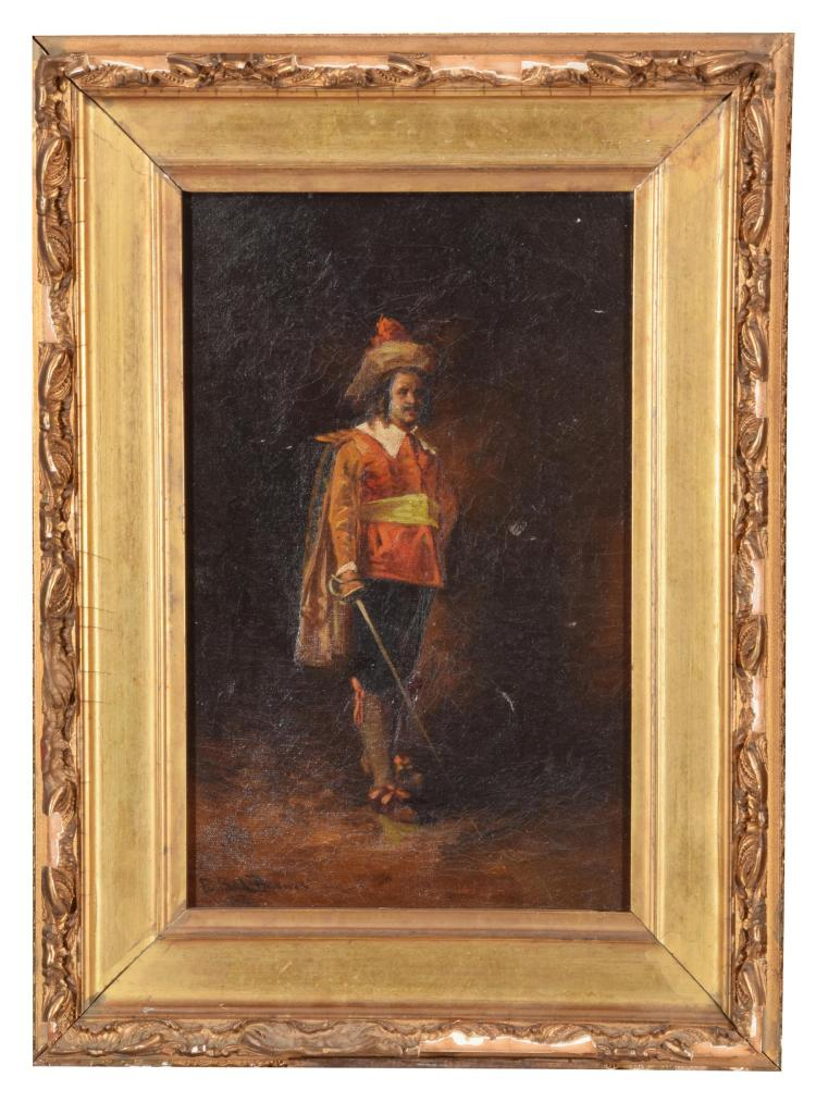 SWORDSMAN BY E. PAUL BARNES (AMERICAN, 19-20TH CENTURY).