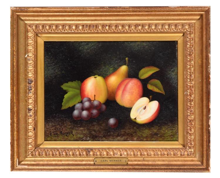 STILL LIFE OF FRUIT BY CARL WERNER (GERMAN, 1808-1894).