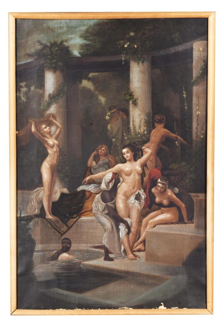 SUMMER BATHS OF POMPEII AFTER BELLINGER (AMERICAN, LATE 19TH CENTURY).