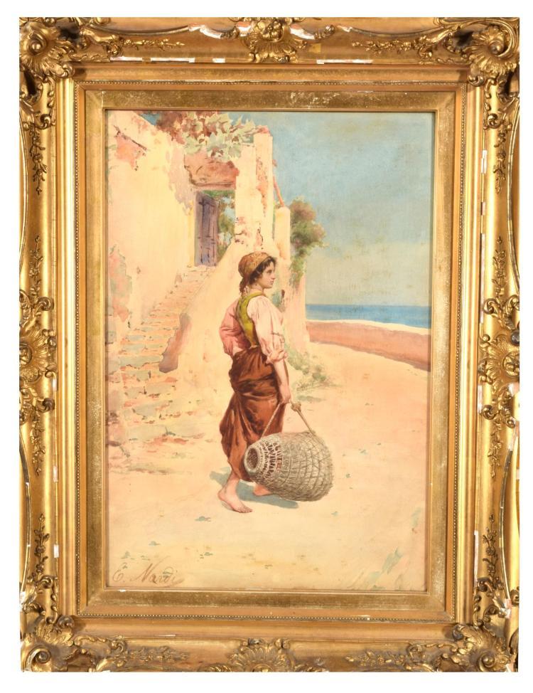 BASKET CARRIER BY ENRICO NARDI (ITALIAN, 1864-1947).