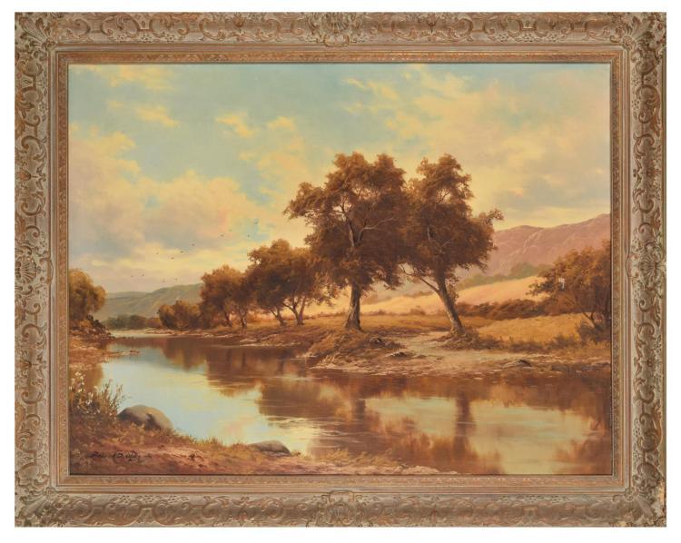 RIVER LANDSCAPE BY FREDERICK OGDEN (AMERICAN, 1892-1948).