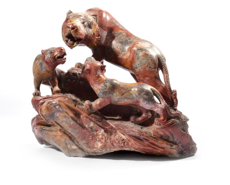 ROUGE MARBLE TIGER SCULPTURE SIGNED N. FECHIN.