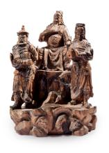 CHINESE PETRIFIED WOOD CARVING OF GUAN YU WITH ATTENDANTS.