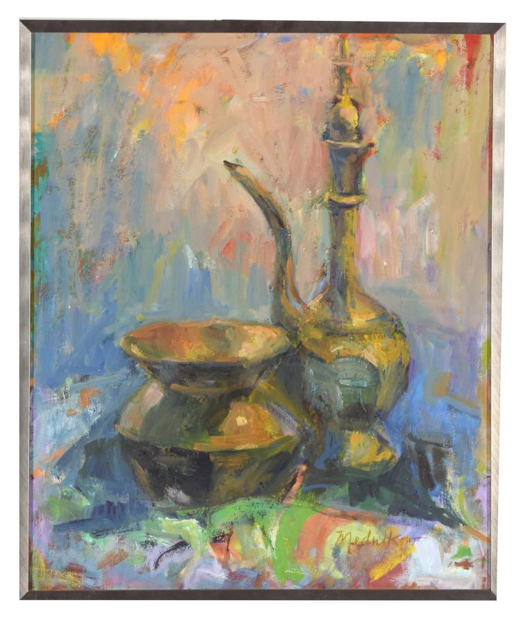 STILL LIFE WITH BRASS COFFEEPOT AND SPITOON BY MIMI MEDNIKOW (AMERICAN, 1925-2015).