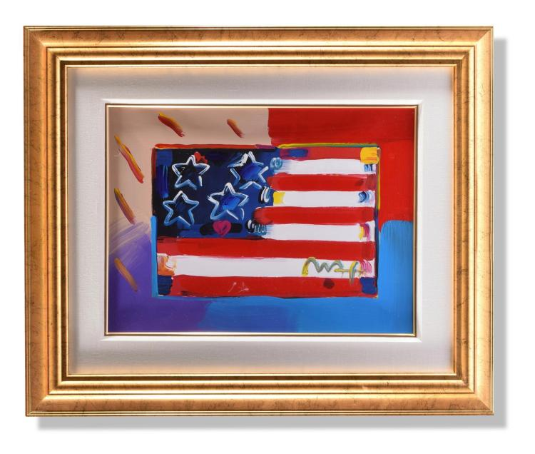 FLAG WITH STARS AND HEART BY PETER MAX (AMERICAN, B. 1937).