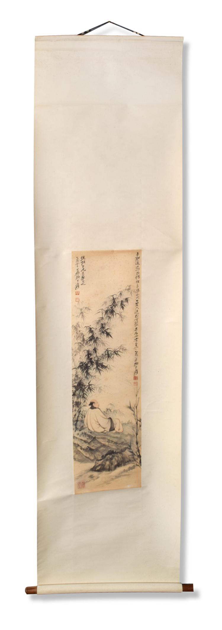 SCHOLAR IN A BAMBOO GROVE BY ZHANG DAQIAN.