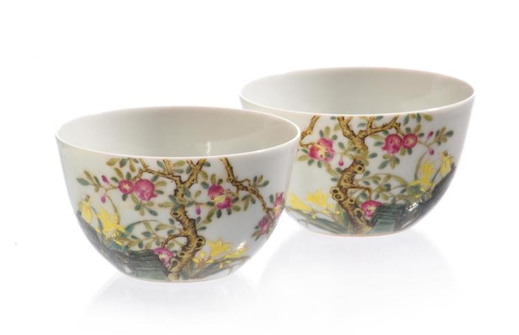 A FINE PAIR OF FAMILLE ROSE CUPS WITH YONGZHENG SIX CHARACTER MARK.