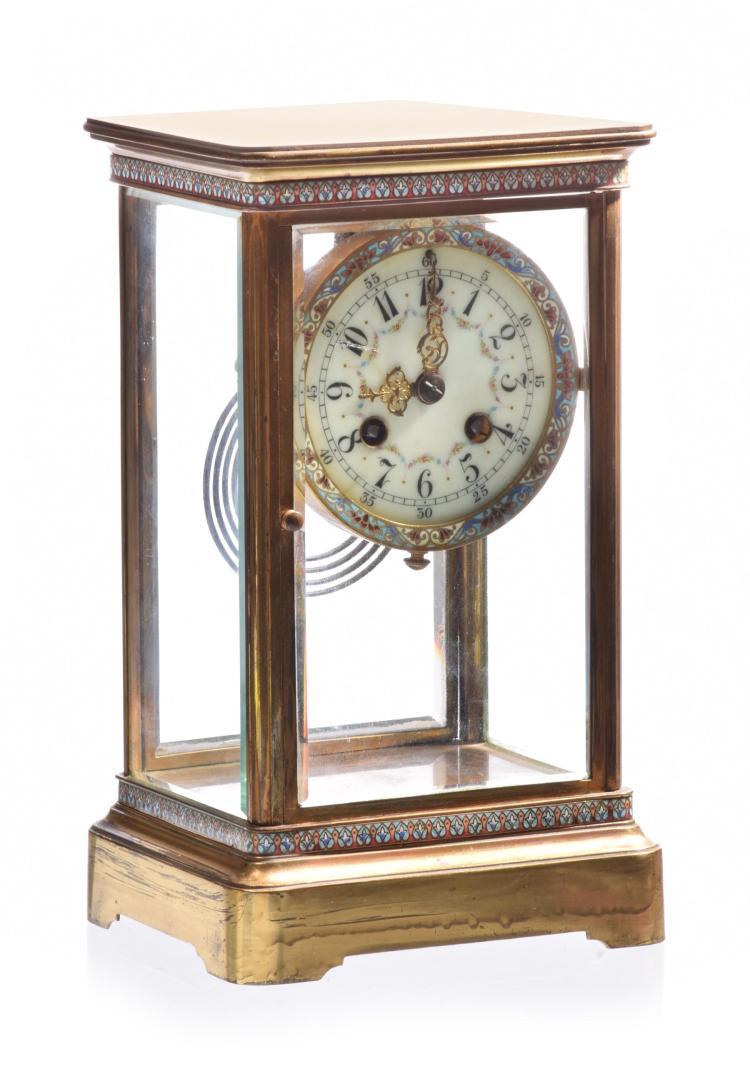 FRENCH CLOISONNE REGULATOR CLOCK.