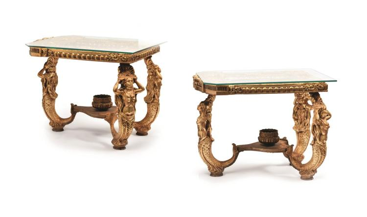 PAIR OF CONTINENTAL GILT END TABLES.