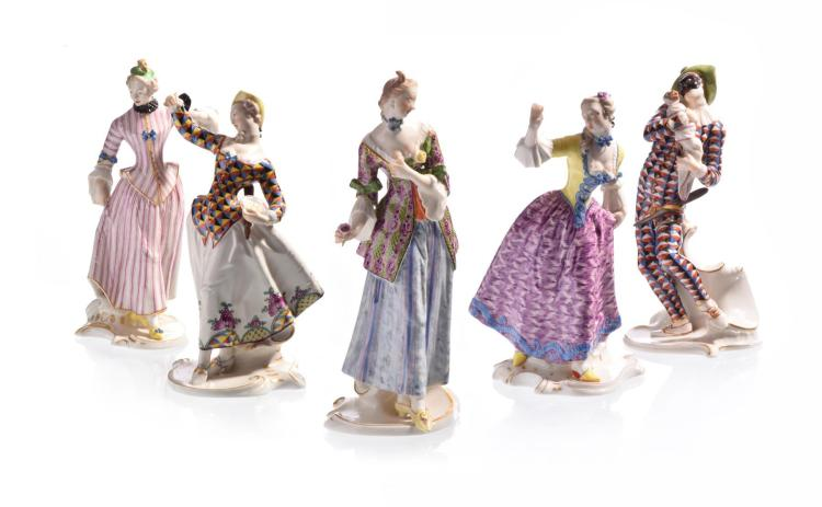 FIVE NYMPHENBURG COMMEDIA DELL''ARTE FIGURINES BY FRANZ ANTON BUSTELLI.