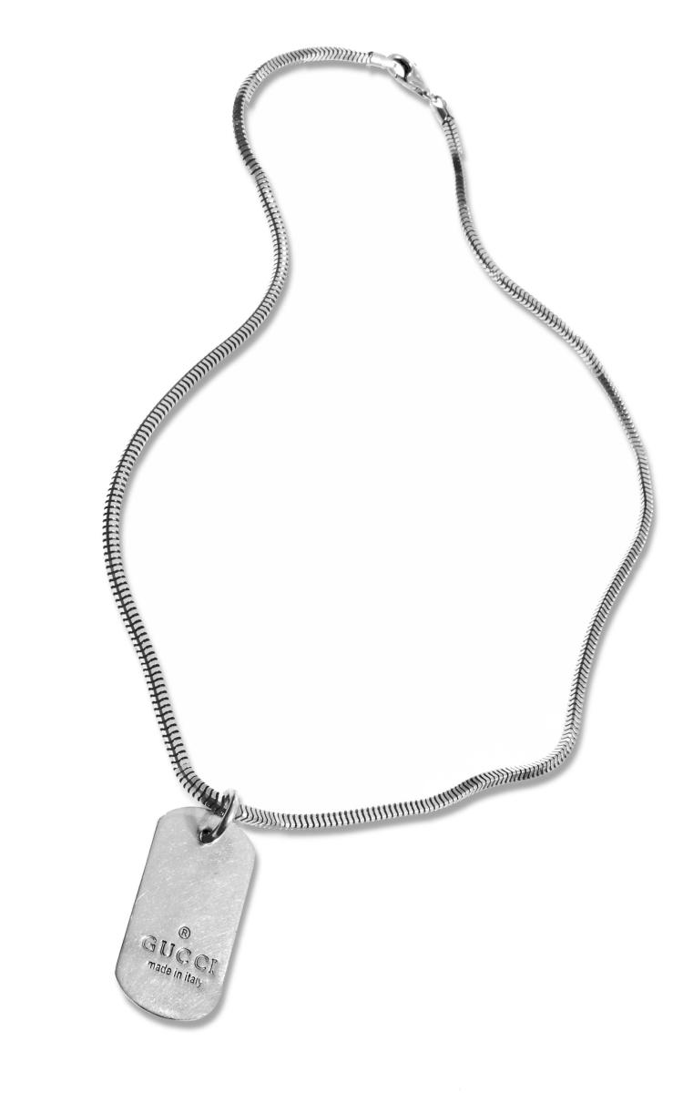 GUCCI STERLING DOG TAG NECKLACE.