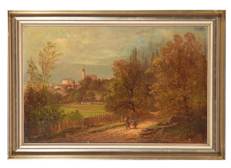 LANDSCHAFTSMALER BY THEODOR EHRMANNS (GERMAN, 1846-1923).