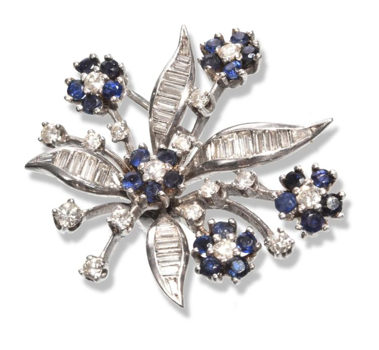 PLATINUM DIAMOND AND SAPPHIRE FLORAL BROOCH.