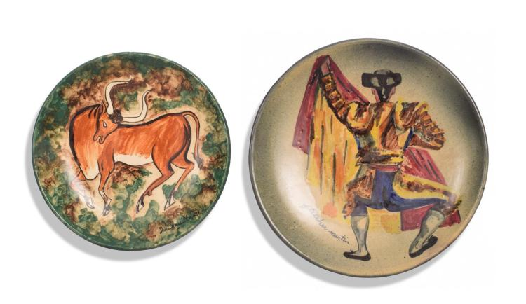 TWO STONELAIN PLATES BY FLETCHER MARTIN (AMERICAN 1904-1979) AND LUIS QUINTANILLA (SPANISH, 1893-1978).