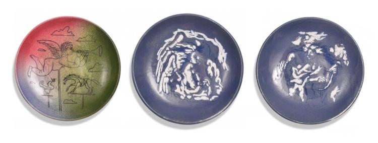 THREE STONELAIN PLATES BY UMBERTO ROMANO (AMERICAN, 1905-1984) AND AARON BOHROD (AMERICAN, 1907-1992).