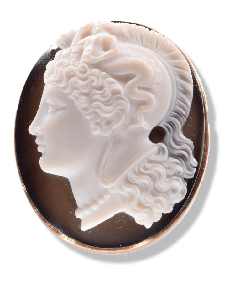 CONTINENTAL HARD STONE CAMEO CARVING OF DIANA THE HUNTRESS.