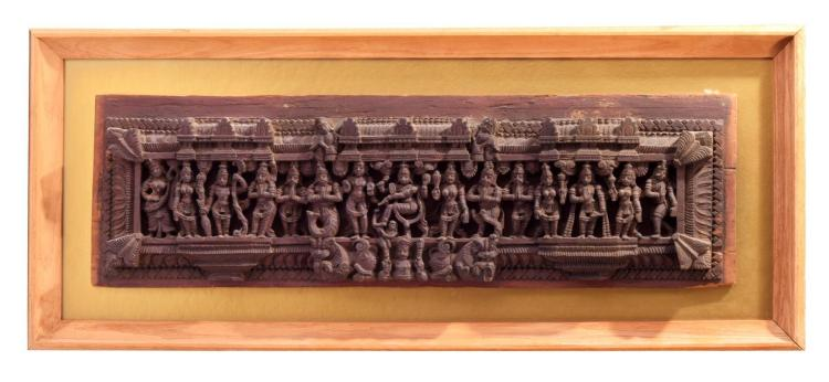 CARVED WOODEN TEMPLE WALL PANEL.