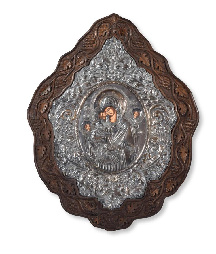 SILVER MOUNTED 19TH CENTURY RUSSIAN ICON.