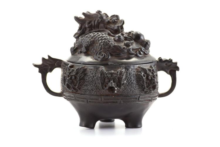 CHINESE LACQUERED CENSER.
