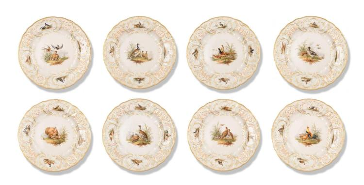 EIGHT HAND PAINTED PORCELAIN PLATES BY MEISSEN.
