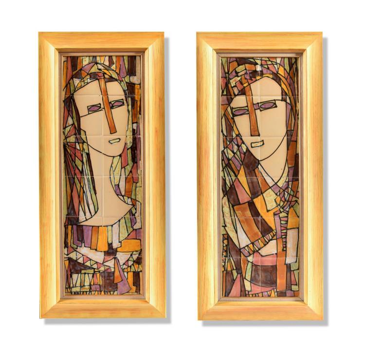 PAIR OF TILE ART PLAQUES BY HARRIS STRONG (AMERICAN, 1920-2006).