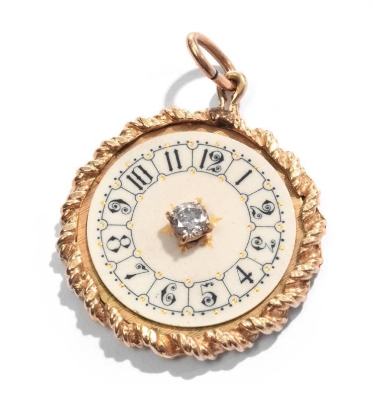 DIAMOND CLOCK PENDANT.