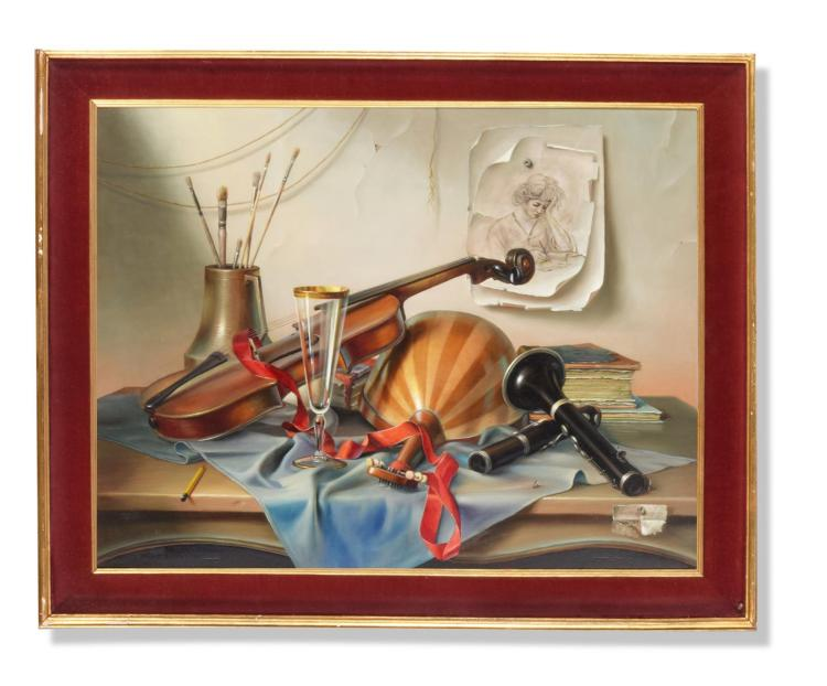TROMPE L''OEIL WITH INSTRUMENTS AND BRUSHES BY PROFERIO GROSSI (ITALIAN, 1923-2000).