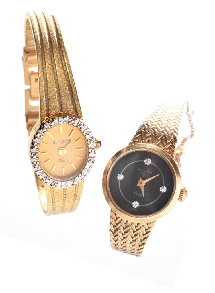 TWO WOMENS GOLD TONE WATCHES BY WITTHAUER.