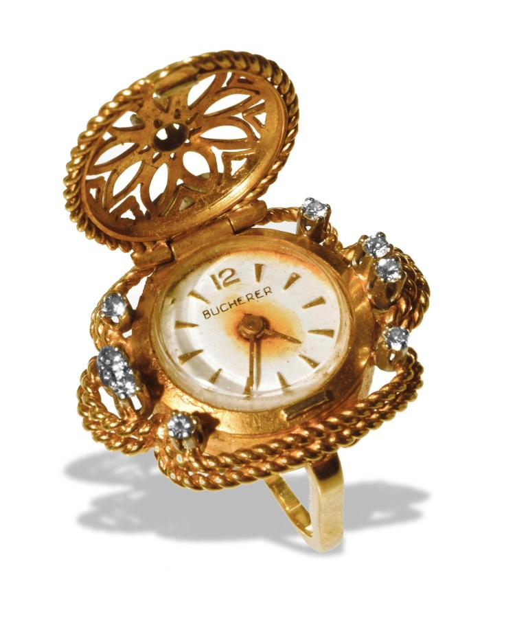 BUCHERER 18K WATCH RING.