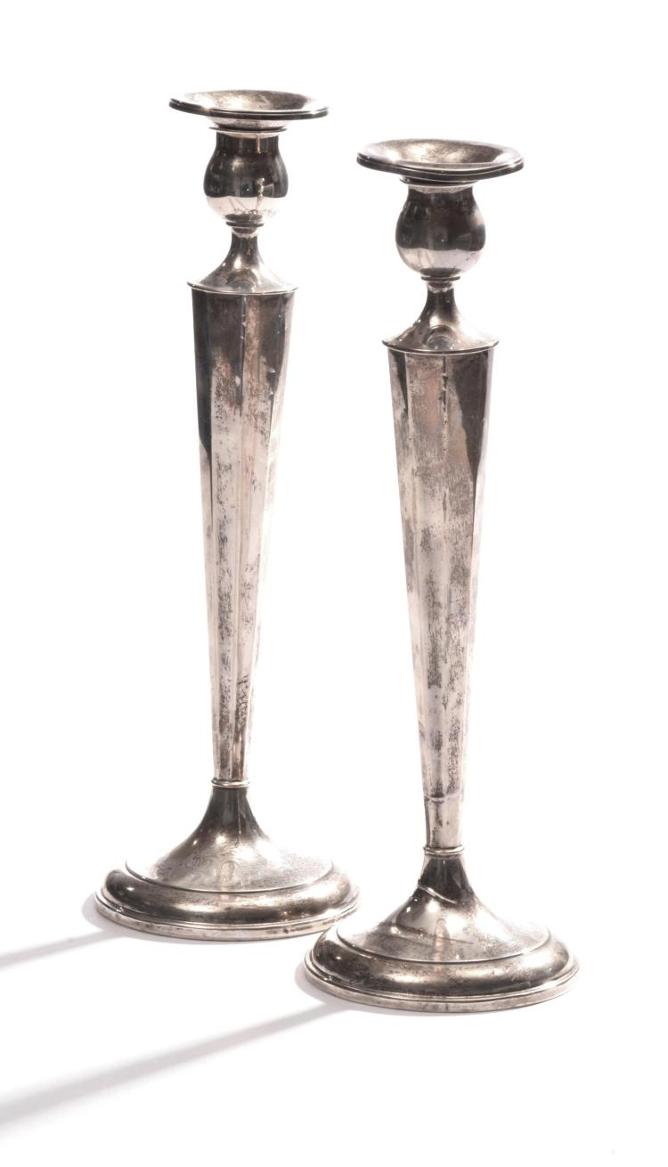PAIR OF STERLING CANDLESTICKS.