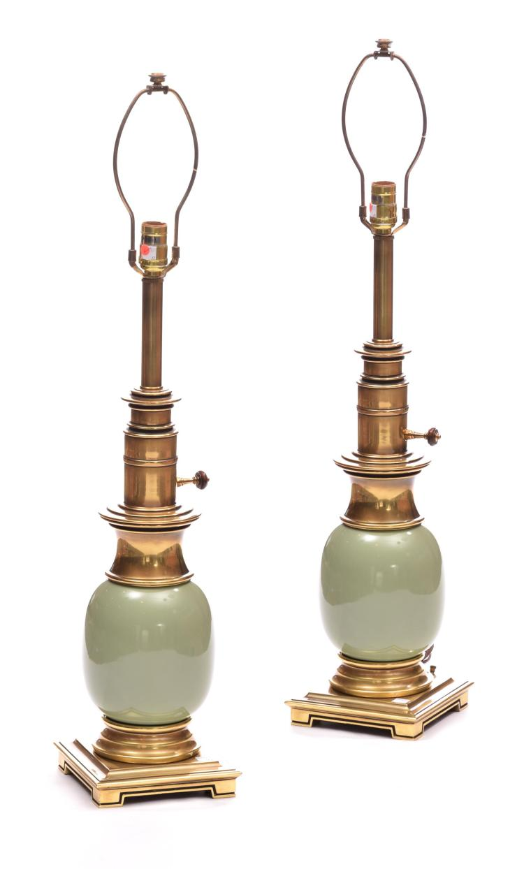 PAIR OF CELADON LAMPS BY STIFFEL.