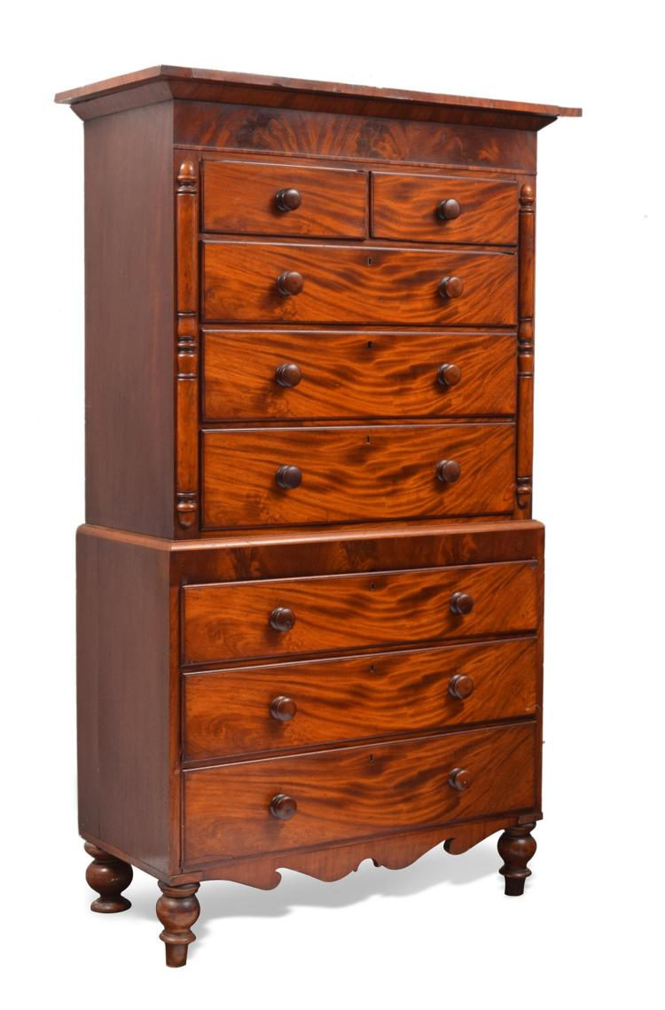 ANTIQUE CLASSICAL STYLE CHEST ON CHEST.