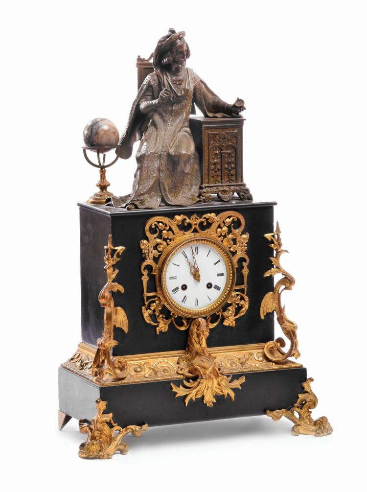 CONTINENTAL FIGURAL MANTEL CLOCK.