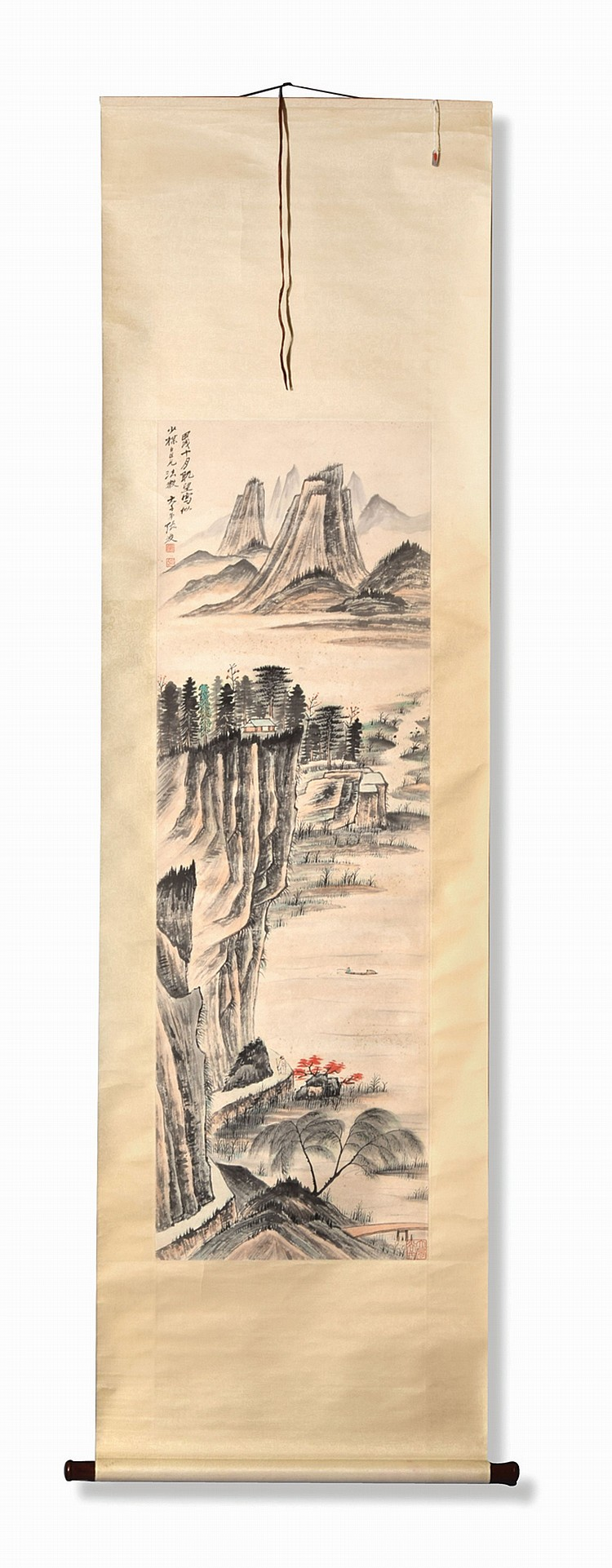 FIGURE AND LANDSCAPE BY ZHANG DAQIAN.