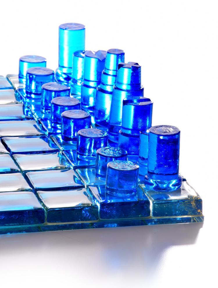 Contemporary Glass Chess Set