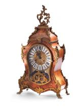 LOUIS XV STYLE FLORAL MARQUETRY MANTEL CLOCK.