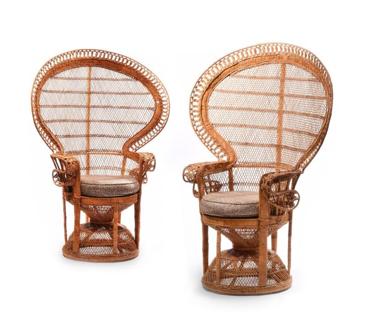 Pair of rattan fan back chairs for American rattan furniture manufacturer