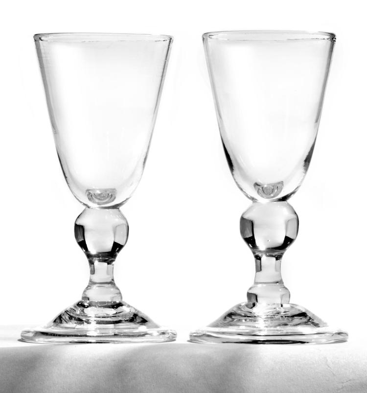 Six Hand Blown Wine Goblets