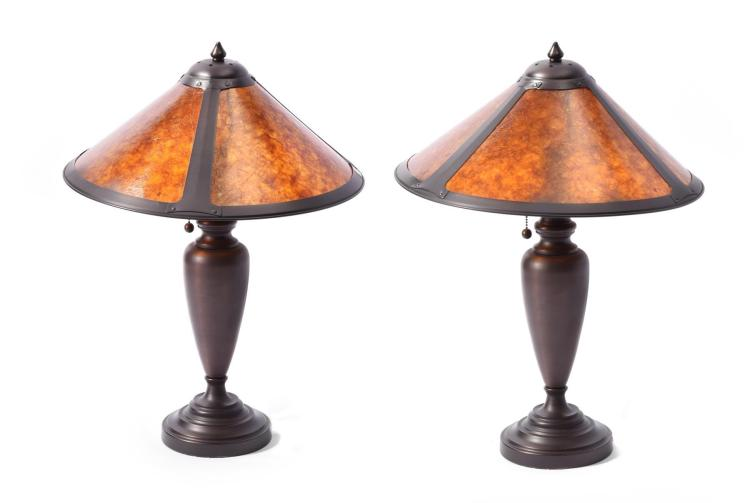 pair of arts crafts style table lamps. Black Bedroom Furniture Sets. Home Design Ideas
