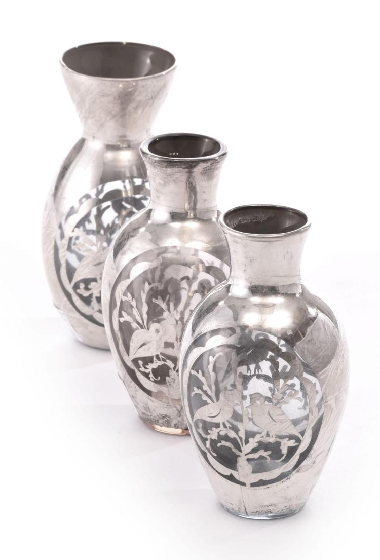 three silver overlay vases. Black Bedroom Furniture Sets. Home Design Ideas
