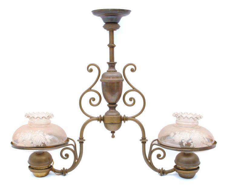 Hanging Two Light Brass Chandelier