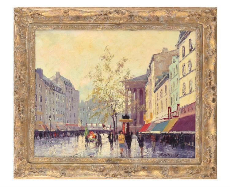 PARISIAN STREET SCENE BY M. BRISSON (FRENCH, B.1915).