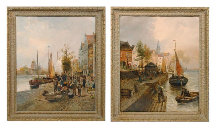 TWO DUTCH HARBOR SCENES BY AUGUST ANTOINE FLEURY (FRENCH, 1827-1881).